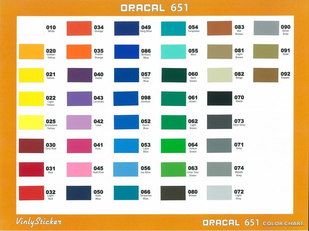 Oracal  Vinyl Color Chart